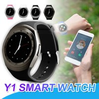 Wholesale y1 smart watch online - Y1 Bluetooth SmartWatch With SIM Card Slot IPS Round Waterproof Smart Watch Support Dial Call For Android System With Retail Package