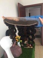 gevşek dalga saç üstü kapatma toptan satış-Brezilyalı Gevşek Dalga 13x2 Kulak Ön Koparıp Dantel Frontal Kapatma Ile Bebek Saç Remy İnsan Saç Ücretsiz Bölüm Üst Cepheler