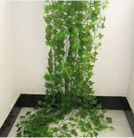 ingrosso piante di plastica edera-2.4 M Artificiale Edera Verde Foglia Ghirlanda Piante Vine Fiori Fogliame Finto Home Decor Plastica Fiore Artificiale Corda In Rattan