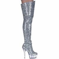 ingrosso sulle mode di boot del ginocchio-Stivali Donna Scarpe Tacchi alti Stivali coscia Moda Glitter Over Knee Fenty Bellezza Gothic Scarpe da donna Nightclub