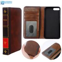 funda abatible al por mayor-Flip Funda para teléfono celular de cuero para iphone 7 8 plus Funda cartera Retro Biblia Vintage Book Business Pouch