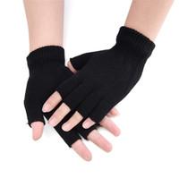 schwarze wollhandschuhe großhandel-Neue Mode Schwarz Kurze Halbe Finger Fingerlose Wolle Stricken Handgelenk Handschuh Winter Warme Workout Für Frauen Und Männer