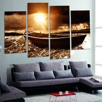 ingrosso pittura a olio d'onda-Sea Wave Seascape Boat Sunshine Senza cornice Pittura 4 Pannello su tela Soggiorno Home Decor Wall Art Pittura a olio