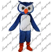 Wholesale owl dress blue - 2018 New high quality Blue owl Mascot costumes for adults circus christmas Halloween Outfit Fancy Dress Suit 023