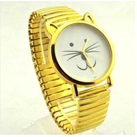 Wholesale Pussy Size - Ouriner Big Small Sizes Happy Smile Cat kitty pussy Women Watch Metal Golden Fashion Retro Vintage Quartz Wristwatch S0050