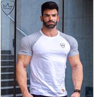 Wholesale Sexy Mens Gym Shorts - Summer Men Running T-Shirt Vintage Short Sleeve Leisure O Neck Sexy Male Shirt Muscle Fitness Jogging Gym T Shirt Mens Sport Top