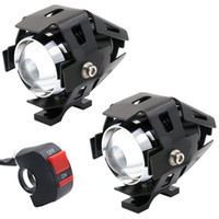 u5 önde gelen motosiklet far toptan satış-2 ADET 3000LM CREE U5 LED Lamba Far Sis Işık Spot Motosiklet / ATV / Kamyon w / ON / OFF Anahtarı Düğmesi