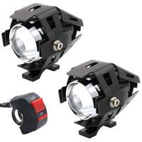 luces de niebla de atv al por mayor-2 UNIDS 3000LM CREE U5 LED Lámpara Faros Antiniebla Luz Proyector para Motocicleta / ATV / Camión w / ON / OFF Botón de interruptor
