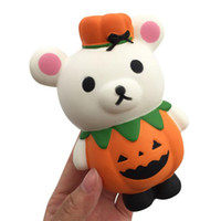Wholesale halloween jokes toy resale online - Practical Jokes Simulation cm Pumpkin Lovely bear Squishy Slow Rising Halloween Squeeze Decompression Kids Toy cartoon Novelty toys