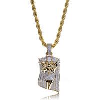 золотое лицо иисуса оптовых-Мода Медно-Золотой Цвет Позолоченный Iced Out Иисус Лицо Ожерелье Micro Pave Большой CZ Камень Хип-Хоп Bling Ювелирные Изделия