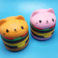 Wholesale Toy Factory Wholesale - Creative Squishy Slow Rising Elastic Hamburger Cat Squishies Charms Queeze Bread Kid Toys Factory Direct Sale 11bq B