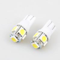 marqueur jaune achat en gros de-50X T10 LED W5W 5050 5SMD Feu de position de lecture lampe dôme Lampe 192 168 194 W5W 2825 158 Porte de stationnement Ampoule Lumière 12V style de voiture