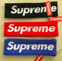 Wholesale 2018 fashion trend headband for men and women balck red blue sup letter headband sport Elastic hairband Popular sup headband