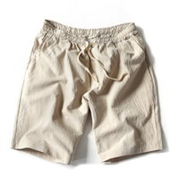 siyah keten pantolon toptan satış-Moda Yaz Yeni Erkekler Keten Şort Rahat Gevşek Plaj Kısa Pantolon Erkekler Siyah Kısa Pantolon M-5XL