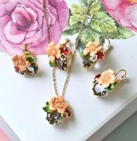 boucles d'oreilles bijou rose achat en gros de-Warmhome Trendy Bijoux émail Glaze Cuivre Mode Rose Fleur Gris Gemme Perles Collier Boucles D'oreilles Pour Les Femmes