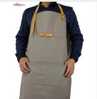 cuisine de choix achat en gros de-CHOICE FUN Mode étanche Home Depot Atelier de cuisine Adulte Toile cirée Cuir BBQ Grill Cuisine Tablier Pour Hommes