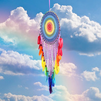 türkis schwarze hochzeit dekorationen großhandel-Große Regenbogen Dream Catcher handgemachte Perlen Feder Anhänger Dreamcatcher Home Decor Wandbehang 40 * 120 cm Kunst und Handwerk Geschenk