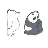titan bärenschmuck großhandel-Cartoon Schmuck Wir Bare Bears Cute Grizzly Panda Eis Bär Metall Emaille Pins Broschen Abzeichen