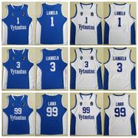 bom basquete homens camisas venda por atacado-Homens Lituânia Prienu Vytautas Basquete Camisa 1 LaMelo Bola Jersey 3 LiAngelo Bola Uniforme 99 Bola LaVar Tudo Costurado Boa Equipe Azul Branco