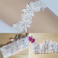 spitze hochzeit strumpfbänder blau großhandel-Luxus Lace Braut Strumpfband, etwas blaue Perle, Blume Perlen Hochzeit Braut