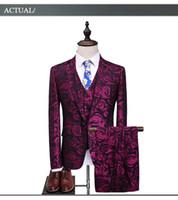 Wholesale Mens Wedding Suit Flowers - Floral suit men 2018 purple rose flower pattern wedding suits for men 4XL 5XL slim fit mens party prom suits