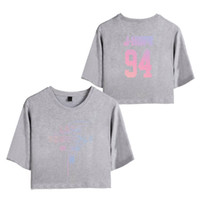 ingrosso amore rosa sexy-BTS Love Yourself Tear Donna Exposed Navel Magliette Girls Short Sleeve 2018 New O-Collo Hip Hop Summer T-Shirt Sexy Floral Tops