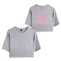 sexy hip hop mädchen großhandel-BTS Love Yourself Träne Frauen Exposed Nabel T Shirts Mädchen Kurzen Ärmeln 2018 Neue Oansatz Hip Hop Sommer Sexy T-Shirt Floral Tops