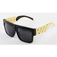ünlü altın zinciri toptan satış-Kim kardashian Beyonce Ünlüler Stil Metal Altın Zincir Boy Güneş Gözlüğü Erkekler / Kadınlar Ücretsiz kargo !!