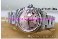 rosa fuerte relojes mujeres al por mayor-Reloj de lujo de venta caliente Nuevo reloj de señora automático Reloj de pulsera de acero inoxidable con esfera romana rosa Reloj de lujo para mujer