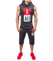 Wholesale Fitness Vest Men Slimmer - Men Gym Fitness Tracksuits Summer Vests Shorts Clothing Sets 2pcs Suits Sports Clothing Suits
