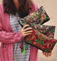 ethnisch gestickte handtaschen großhandel-Art und Weise heiße Weinlese stickte ethnische Art-Beutel-vorzügliche Dame Wristlet Clutch Handbook Wallet Bags verschiedene Farben