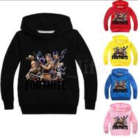 Wholesale boys hoodie - Kids Fortnite Casual Sweatshirt 5 Colors Boys Girls Cotton Spring Fall Hoodies Pullover Long Sleeve Blouse OOA5222