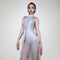 Wholesale sexy jazz costumes - 2018 Female New Clubwear Outfits Sexy Women Bling Rhinestones Stage Wear Romper Hot Jazz Dancing Girls Tassel Leotard Costume