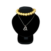 Wholesale white necklace bust - Mini Jewelry Display Bust White PU Pendant Holder Black Velvet Mannequin Necklace Rack Stand Wooden Pendant Portrait Model 11.5cm