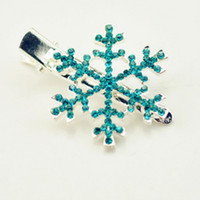 Wholesale china hairpin resale online - Snowflake Hair Clips Princess Snow Barrettes Flower Hair Clips Hairpin Polyester Headwear Children Hairpins Hair Accessories Christmas Gift