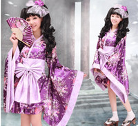 kiraz kostümü toptan satış-Japon kimono geleneksel kız Geisha kızlar cosplay Cehennem kızlar papyon bayan dişiler Kiraz suits cosplay mor çünkü Kostüm