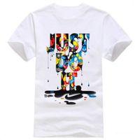 Wholesale asian clothing men - 7 Color Men's Fashion Clothing Short Sleeve T-shirt with Letter Just Do It Print Hip Hop Men Streetwear Asian Size Run Small M-XXXL