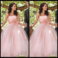 Charming Dusty Pink Long Wedding Dresses Princess Middle East Arabic Women  Party Dresses with Bow Sash Summer Garden Bridal Gowns 45d73cc91f97