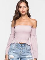 tube blouse achat en gros de-Kenancy Bell Sleeve Tube Blouse