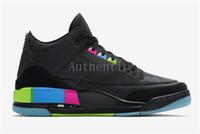 Wholesale quai 54 - 2018 New 3 Quai 54 Black Electric Green Infrared 23 AT9195-001 Basketball Shoes Men Authentic Quai 54 Sports Sneakers With Original Box