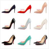 hellblaue hochpumpen großhandel-Fashion Brand Schuhe Red Sloe Damen Pumps Schuhe Rivet Spitzschuh Fine Heel Hellblau Lackleder Ring High Heels