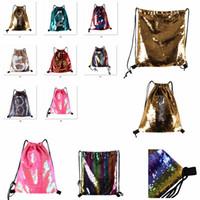 Wholesale wholesale gym drawstring bags - Glitter Mermaid Sequins Backpacks Drawstring Portable Glittering Shoulder Bag Outdoor Bag Gym Sport Sack Bag 36*42cm FFA190 12PCS 8styles