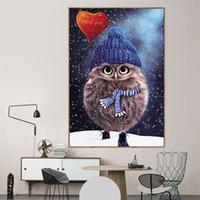 tam oda toptan satış-Sevimli Baykuş Çapraz Dikiş Tam Matkap DIY Yuvarlak Elmas Resim Sergisi Çocuk Odası Oturma Odası Dekorasyon 22cx2 C R