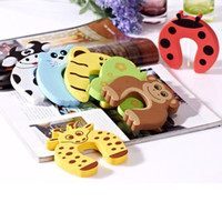 Wholesale Cute Door Stoppers - (50pcs lot) Cute Cartoon Design New door stopper NBR Material finger pinch Safety Guards Children Safety Care Products