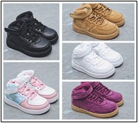ingrosso scarpe infantili viola-nike air force 1 af1 Scarpe da bambino Classic AF Sneakers Trainersi neonate Air Air High-Low Cut Purple One 1 bambino Scarpe Sport Skateboarding Scarpe per bambini