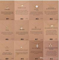 perlenkreuz anhänger großhandel-Mixed Styles Dogeared Choker Halsketten Mit Karte Gold Circle Elephant Perle Liebe Flügel Kreuz Schlüssel Anhänger Halskette Für Mode Frauen Schmuck