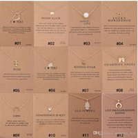 Wholesale elephant mix for sale - Group buy Mixed Styles Dogeared choker Necklaces With card Gold Circle Elephant Pearl Love Wings Cross Key Pendant Necklace For Fashion women Jewelry