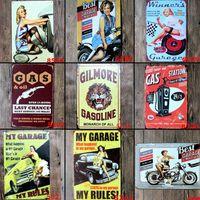 знаки для мотоциклов оптовых-Горячая лучший гараж для мотоциклов авто батареи фиксации старинные ремесло жестяная вывеска ретро металлический плакат бар паб знаки стены искусства стикер