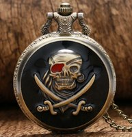 Wholesale Skull Watch Necklace - Cool Black Pirate Skull & Sword Case Design Quartz Fob Pocket Watches with Necklace Chain for Men Women Best Gift For Children