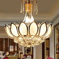 Wholesale Lotus Pendant Lamp - Lotus Flower Glass Gold LED Crystal Chandeliers Lights Ceiling Pendant Lamp 45cm 50cm For Dining Room Bedroom Lighting LLFA